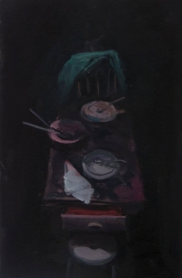 Chair, Open Drawer with Stool II 2017.Oil on Canvas.30.5 x 20cm.12 x 8in
